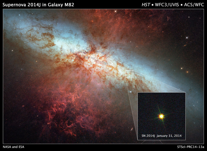Supernova SN2014J in nearby galaxy M82