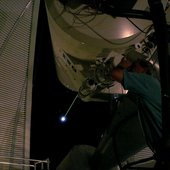 Green laser shooting at the Moon via ESA's Optical Ground Station, Tenerife, Spain.