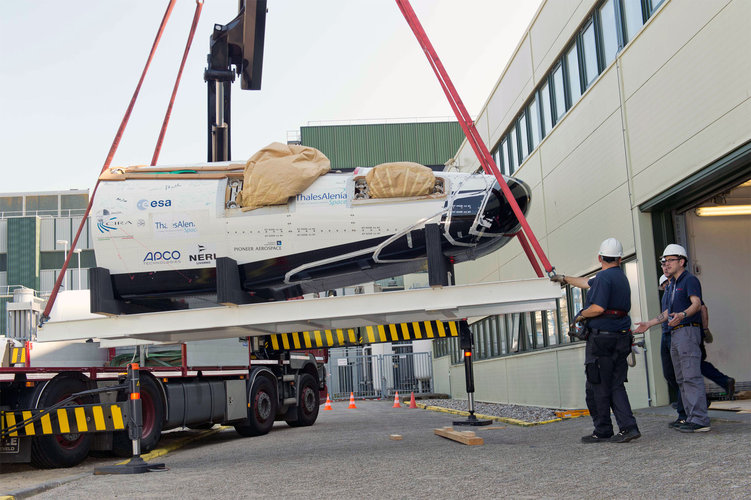IXV drop-test model being moved