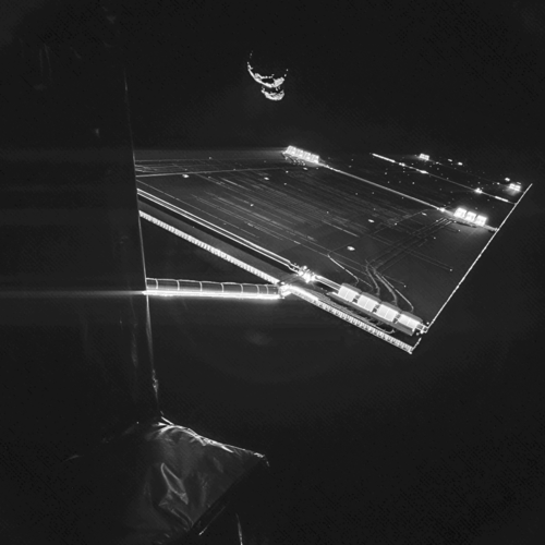 Rosetta mission selfie at comet