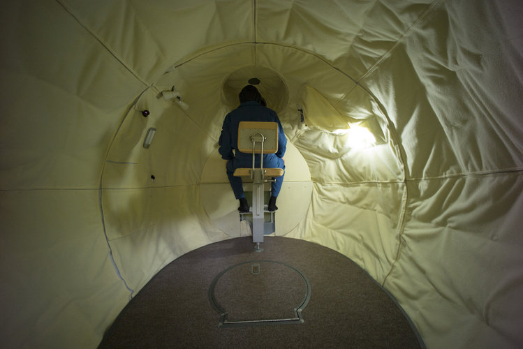 "Andreas during training in the ""Don-Soyuz"" simulator"