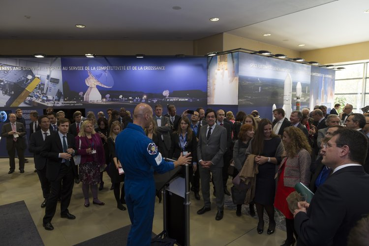 Luca Parmitano at the 'Space For Our Future' exhibition inauguration