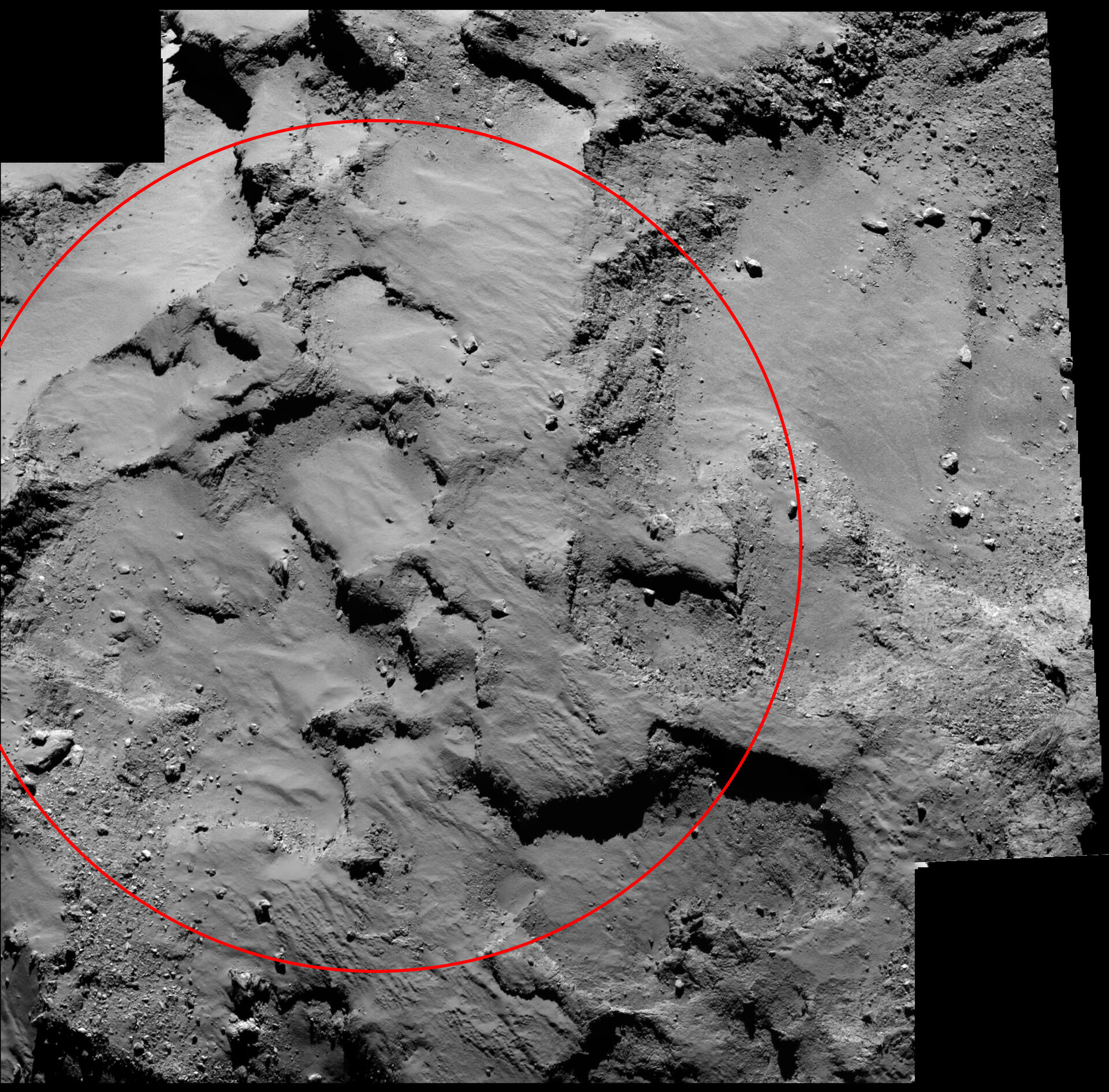 Philae's primary landing site from 30 km