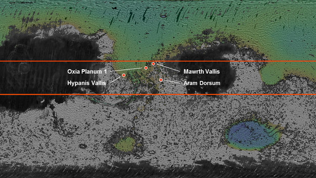 Four possible landing sites are being considered for the ExoMars 2018 mission. The sites – Mawrth Vallis, Oxia Planum, Hypanis Vallis and Aram Dorsum – are indicated in this context map. All four are close to the equator.