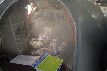 Thomas during training in the Soyuz TMA simulator