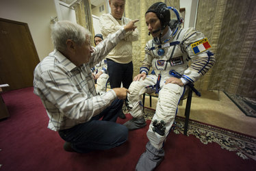 Thomas wearing his Sokol spacesuit