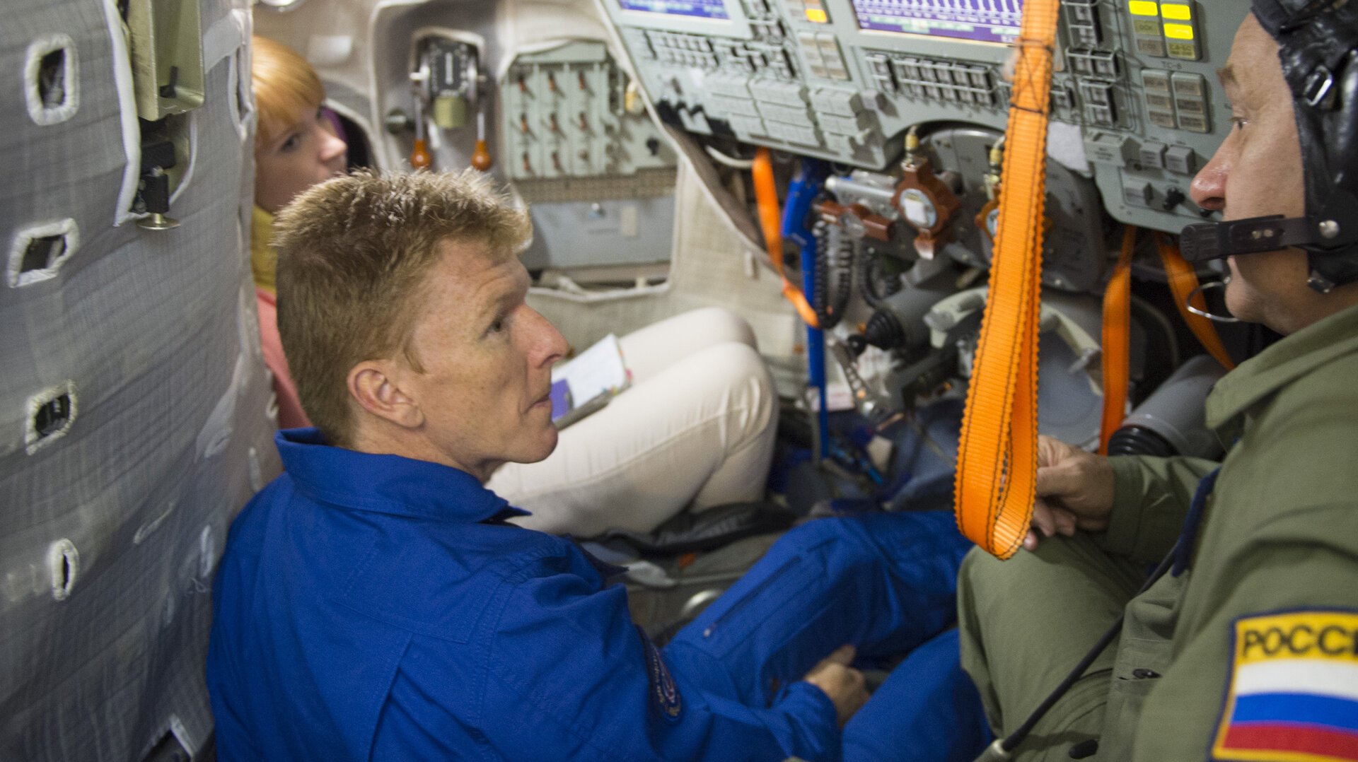 Tim during training in the Soyuz TMA simulator