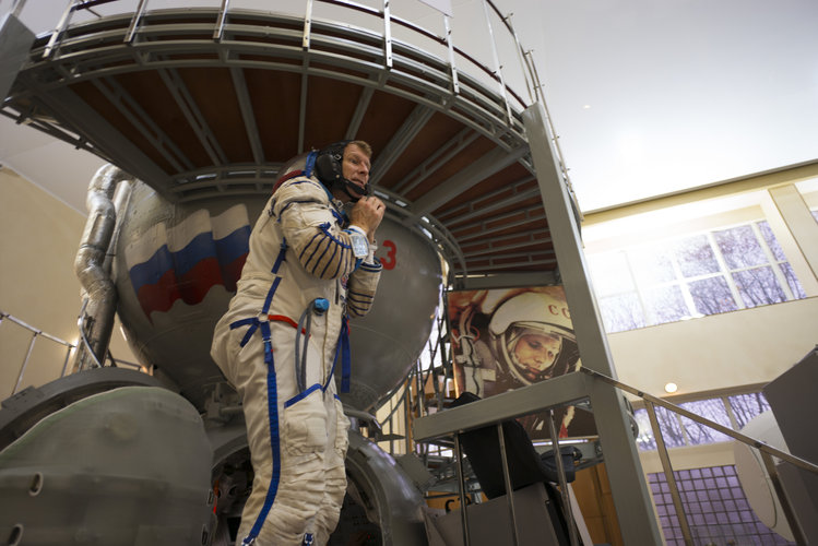 Timothy after training in the Soyuz TMA simulator