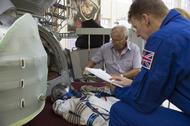 Timothy during the preparation for the simulation inside the Soyuz capsule