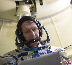 Timothy during training in the Soyuz TMA simulator