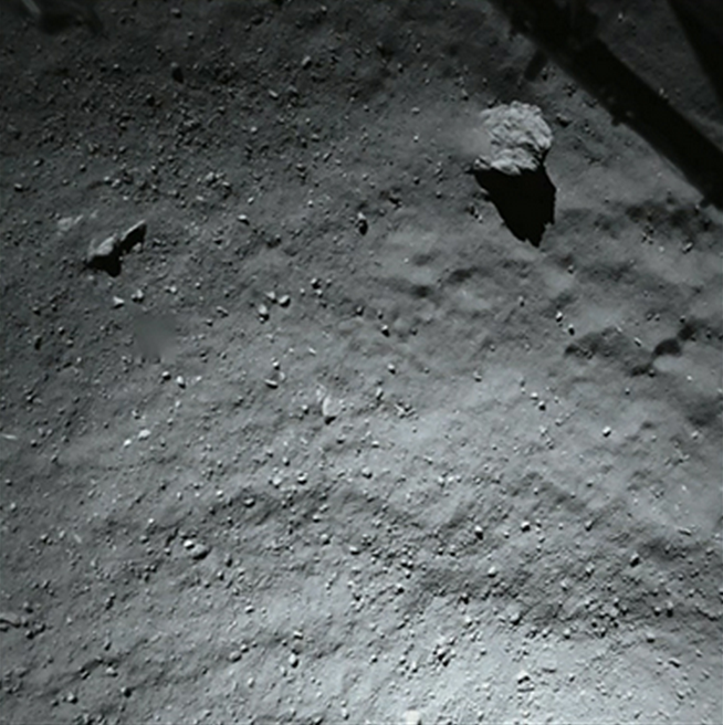 Kometa 67P/C-G, Philae, pohled dolů
