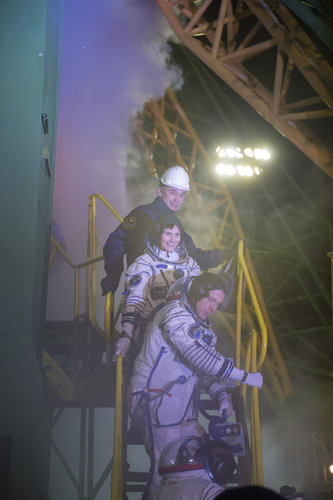 Expedition 42/43 crew members at the launch pad