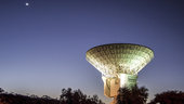 ESA's 35 m-diameter deep-space radio dish at New Norcia, Australia, seen during a dramatic sunset, 11 November 2014.