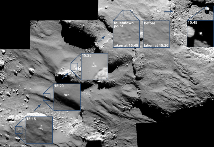 OSIRIS spots Philae drifting across the comet
