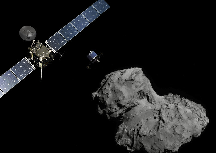 Rosetta mission poster showing the deployment of the Philae lander to comet 67P/Churyumov–Gerasimenko.   Acknowledgment: The image of the comet was taken with the navigation camera on Rosetta (ESA/Rosetta/NavCam). Copyright ESA/ATG medialab; Comet image: ESA/Rosetta/Navcam.