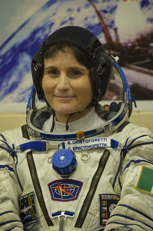 Samantha Cristoforetti dressed in her Russian Sokol suit