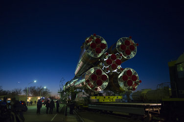 Soyuz TMA-15M spacecraft roll out