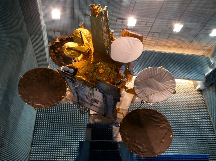 The Eutelsat-9B satellite with its EDRS-A payload is shown in the anechoic test chamber of Airbus Defence and Space in Toulouse, France.