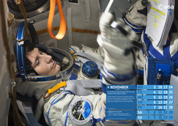 Samantha during training in the full-scale mockup of the Soyuz capsule
