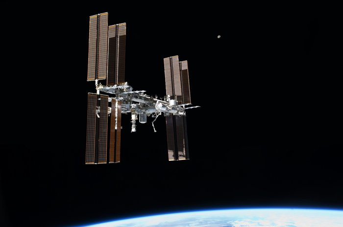 The International Space Station, photographed by ESA astronaut Paolo Nespoli following the undocking of his Soyuz-TMA on 23 May 2011.
