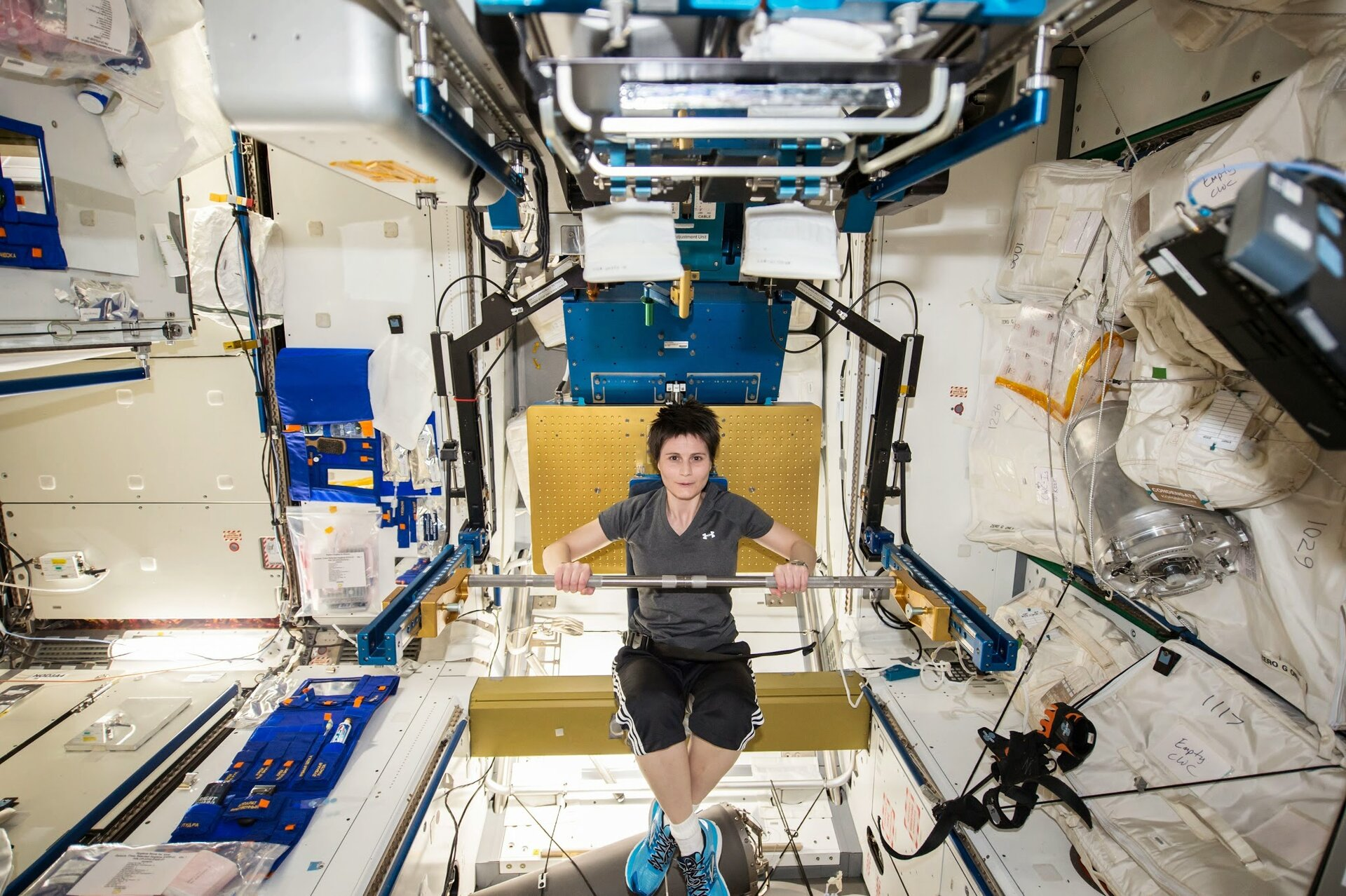 Samantha Cristoforetti exercises to fight bone loss in space