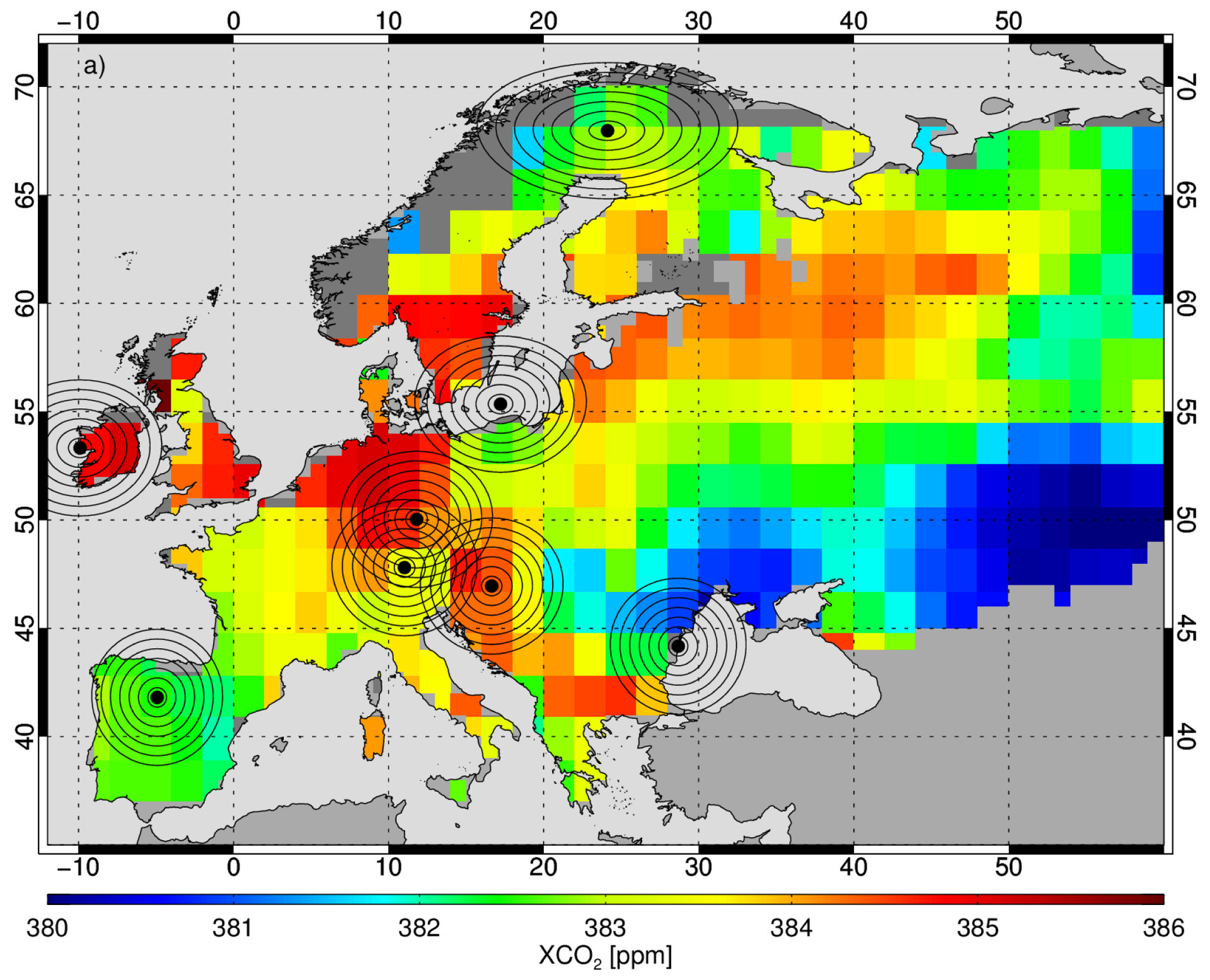 Average satellite carbon dioxide concentrations over Europe