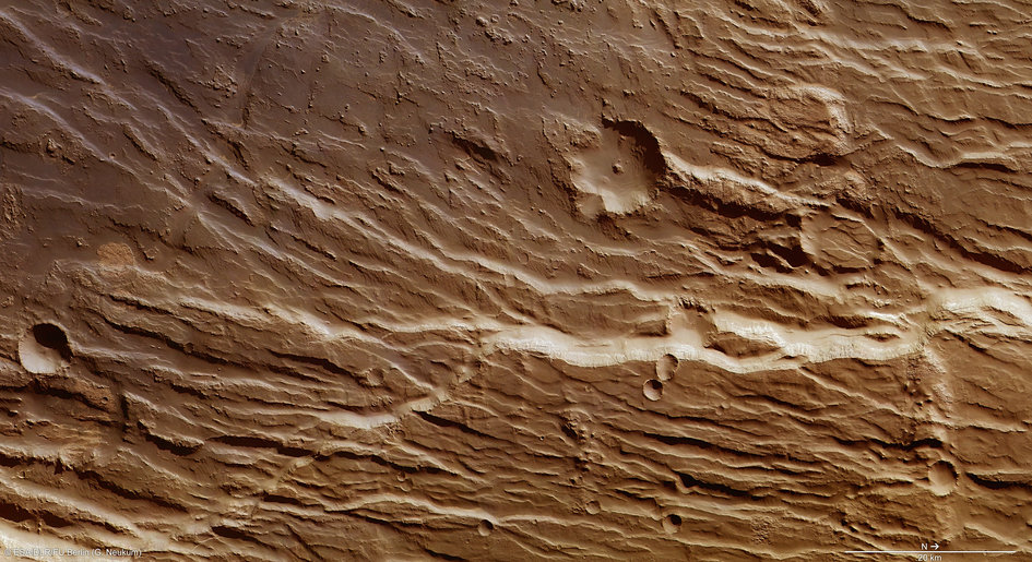 Chasms and cliffs on Mars