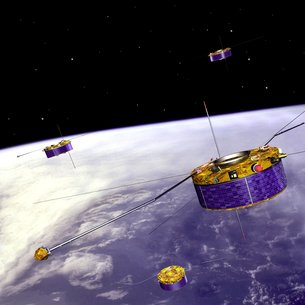The four Cluster satellites move in highly elliptical orbits and are controlled from ESA's ESOC operations centre, Darmstadt, Germany