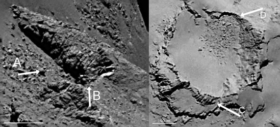 Fractures, uplift and debris (labelled)