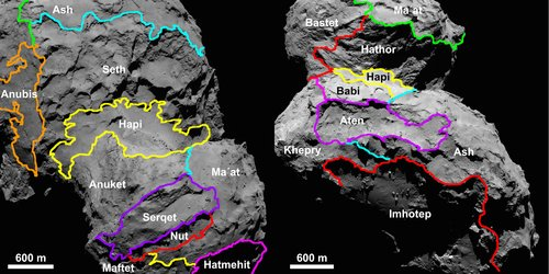 Getting to know Rosetta's comet – region maps