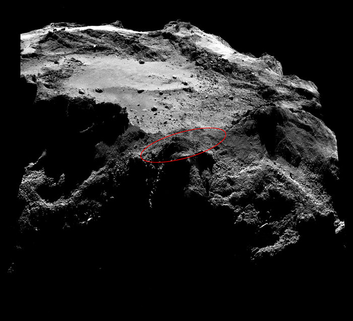 Philae traveling above comet 67P