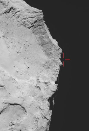 Philae above the comet?