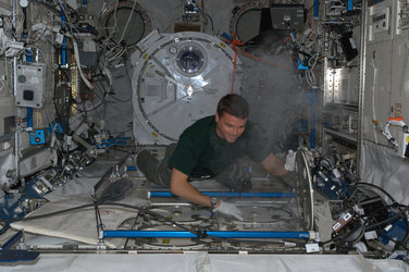 Reid Wiseman storing samples on Station