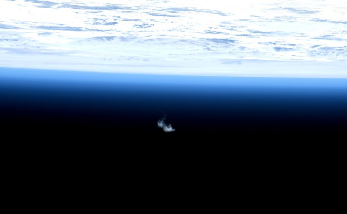 The fifth and final Automated Trasnfer Vehicle, Georges Lemaître, as it burns up harmlessly in a controlled reentry over the Pacific Ocean.
