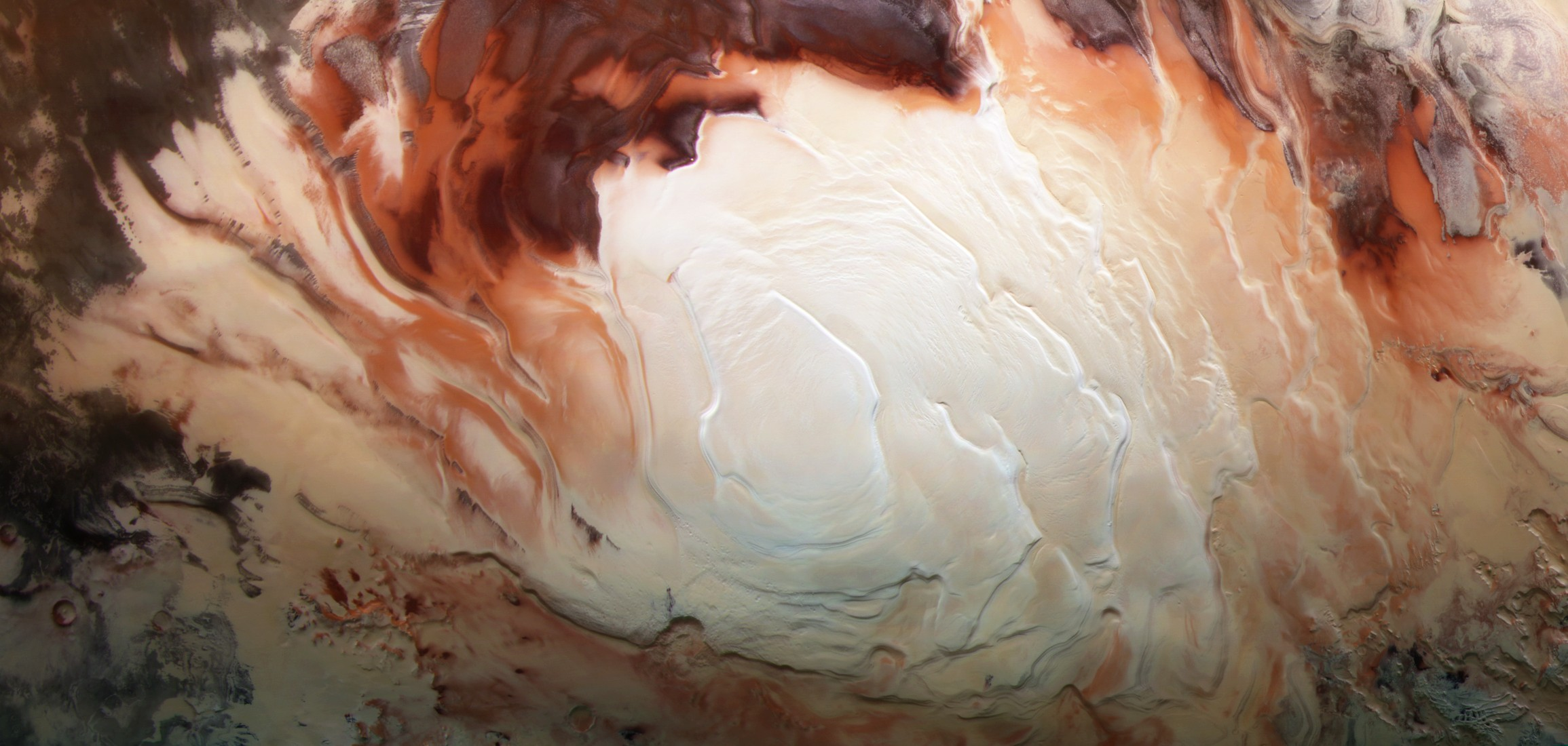 Risultati immagini per 'swirls' on Martian North Pole