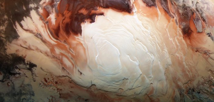 Cappuccino swirls at Mars' south pole