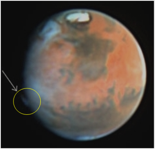 Hubble spies mystery plume on Mars