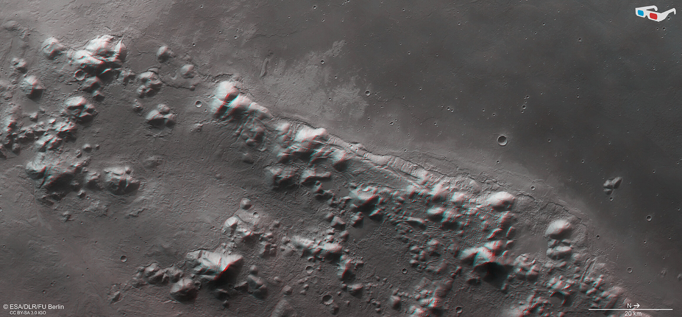 Phlegra Montes southern tip in 3D
