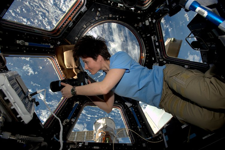Samantha in Cupola on Station