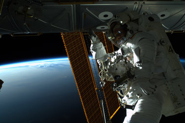 ESA astronaut Alexander Gerst during spacewalk