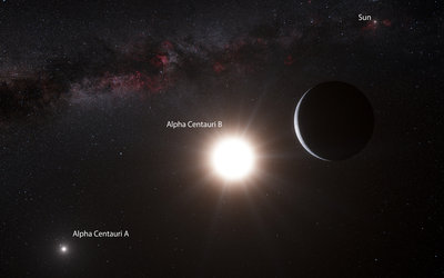 The Alpha Centaury system, artist view