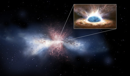 Black-hole wind sweeping away galactic gas