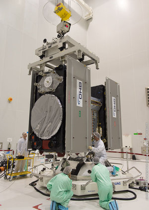 Galileo satellites fitted onto dispenser