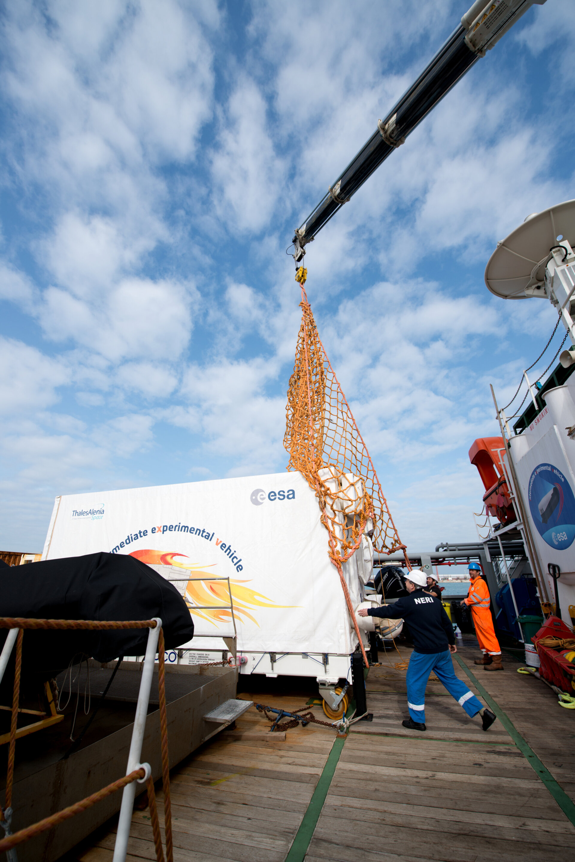 IXV hoisted onto dry land