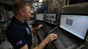 Tim Peake at the rover control station in Europe's Columbus space laboratory.