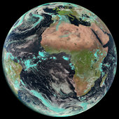 Earth seen by Meteosat 10, launched as MSG-3, in April 2015