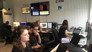 Rover experiment control team at ESOC, ESA's operations centre, Darmstadt, Germany, in a rehearsal on 27 April.