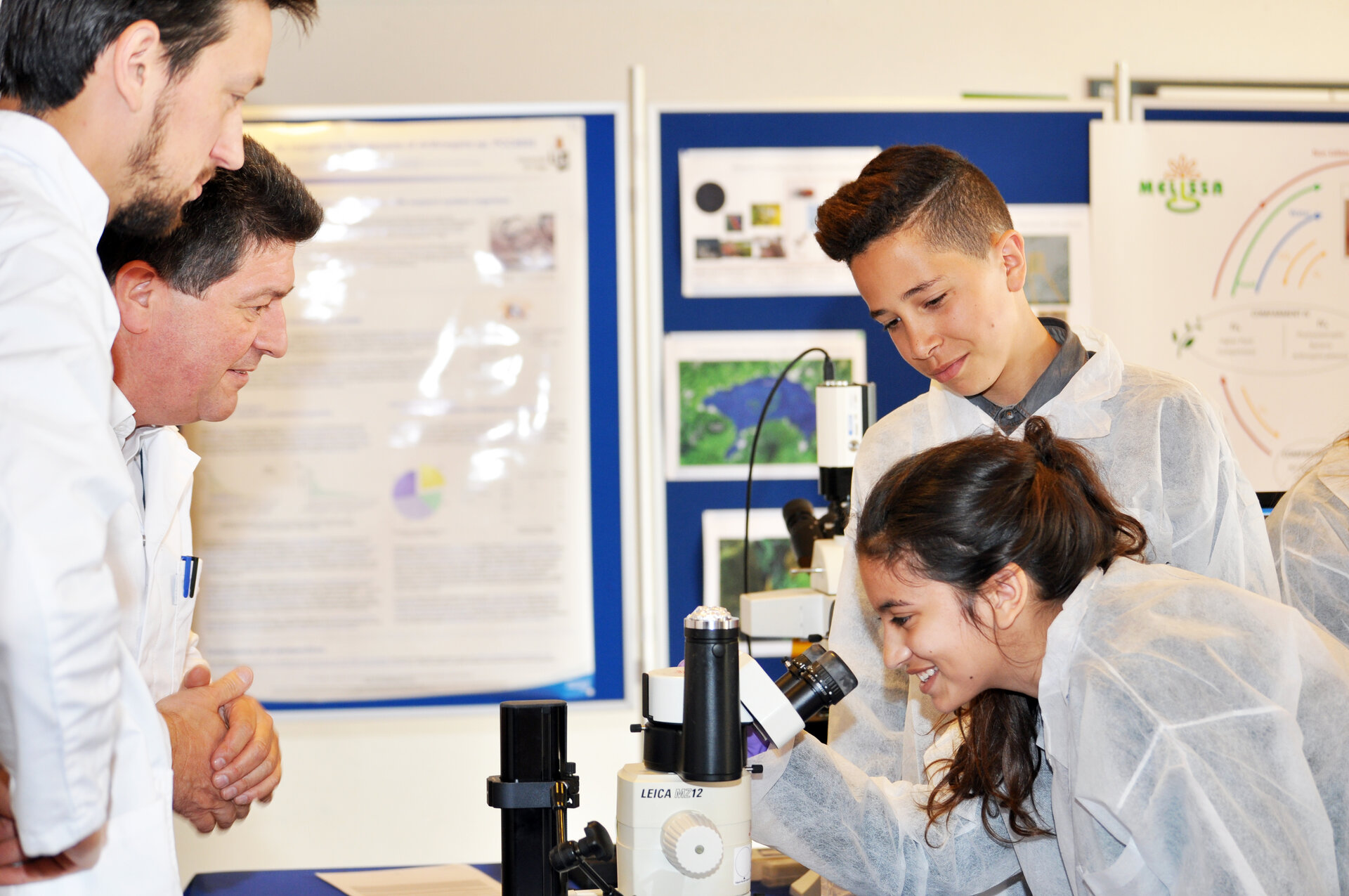 Students visualise live spirulina down the microscope