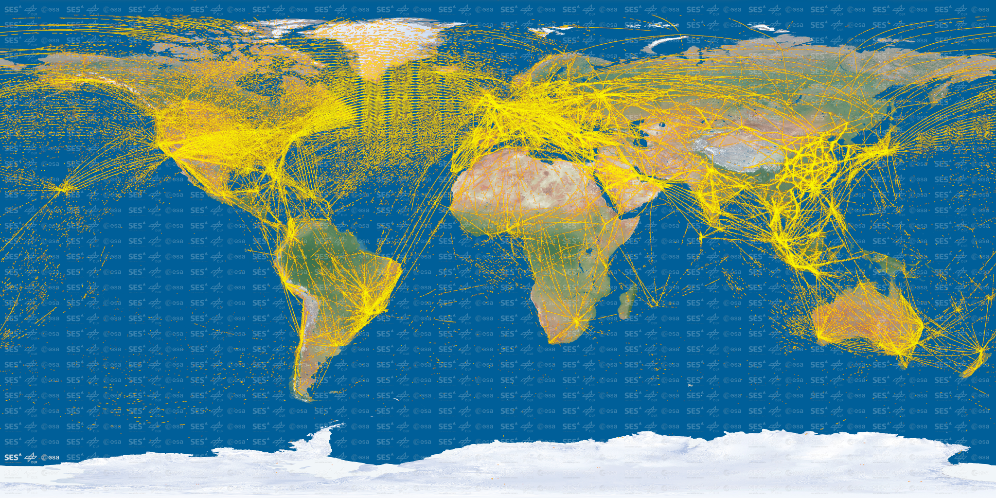 Air Traffic Map Live.World Air Traffic As Mapped By Esa S Proba V Satellite 2048 X 1024