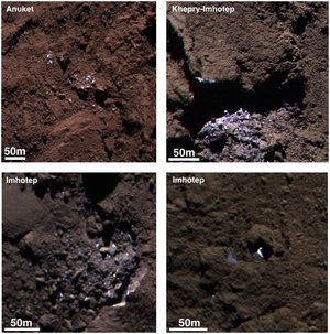 Colour composites of icy bright patches on comet